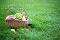 Picnic Basket With Fruits And Glass Of Wine On Green Grass Stock Images - 59538944