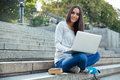 Female Student Using Laptop Computer Outdoors Royalty Free Stock Image - 59549326