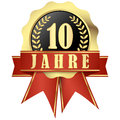 Jubilee Button With Banner And Ribbons For 10 Years Stock Image - 59553401