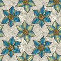 Vector Seamless Pattern Of Hand-drawn Flowers Royalty Free Stock Image - 59554956