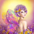 Beautiful Girl Fairy  Butterfly At   Pink And Purple Flower Background Stock Image - 59556221