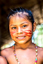 Native Brazilian Girl Smiling At An Indigenous Tribe In The Amazon Royalty Free Stock Photos - 59561768