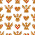 Seamless Pattern With Christmas Gingerbread Cookies - Angel And Sweet Heart. Stock Images - 59564974