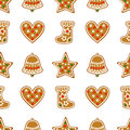 Seamless Pattern With Christmas Gingerbread Cookies - Bell, Xmas Stocking, Star, Heart. Stock Photo - 59564980