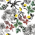 Watercolor Wild Exotic Birds On Flowers Seamless Pattern On White Background Stock Images - 59570364