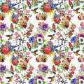 Watercolor Wild Exotic Birds On Flowers Seamless Pattern On White Background Stock Photos - 59570423