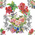 Watercolor Wild Exotic Birds On Flowers Seamless Pattern On White Background Stock Photo - 59572010