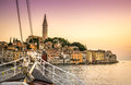 Sail Boat And Charming Rovinj, Croatia Stock Photo - 59580130