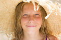 Beautiful Smileing Young Girl With Straw Hat Stock Photo - 59590140