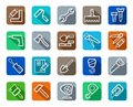 Icons, Tools, Repairs And Construction, Colored Background, Shadow. Royalty Free Stock Images - 59597869
