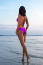 Back View Of Sexy Woman Posing In Water On Beach Royalty Free Stock Photography - 59615417
