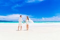 Happy Groom And Bride On The Sandy Tropical Beach. Wedding And H Royalty Free Stock Photo - 59622305