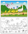 Coloring Book. Mother Duck And Ducklings. Stock Images - 59639194