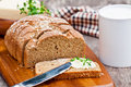Sliced Irish Stoneground Soda  Bread With Butter And Thyme On The Royalty Free Stock Images - 59644319