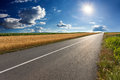 Driving On An Empty Asphalt Road At Sunny Day Royalty Free Stock Image - 59644656