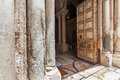 Pillars And Wooden Door Of The Church Of The Holy Sepulchre. Stock Image - 59666141