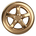 Modern Golden Car Wheel Front View Isolated On A White Backgroun Royalty Free Stock Image - 59680456