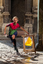 Woman Punching At Control Point Participating In Orienteering Competitions Stock Photos - 59686523