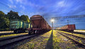 Cargo Train Platform At Night. Railroad In Ukraine. Railway Royalty Free Stock Images - 59692099
