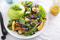 Fresh Healthy Salad With Greens And Apple Stock Photo - 59692100