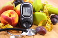 Glucose Meter With Medical Stethoscope, Fruits And Dumbbells For Using In Fitness Stock Photography - 59696502