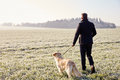 Mature Man Walking Dog In Frosty Landscape Royalty Free Stock Image - 59714636