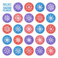 Set Of Icons Of Snowflakes Flat Design With Long Shadows. Vector Stock Images - 59717324