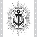 Black Anchor On White. Vintage Label, Background. Typography Elements Royalty Free Stock Photos - 59721268