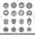 Set Of Color Vintage Royal Labels With Lion Eagle And Man Face Stock Photography - 59721482