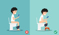 Unhealthy Vs Healthy Positions For Defecate Royalty Free Stock Photography - 59726237