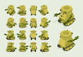 Isometric Khaki Military Robot On Crawler Tracks Stock Photos - 59731913