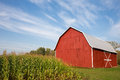 Red Barn With Corn And Dramatic Sky Stock Photography - 59738062
