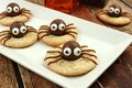 Chocolate Halloween Spider Cookies On A White Plate Royalty Free Stock Photo - 59739365