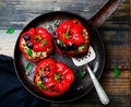 The Sweet Pepper Stuffed With Lamb And Pearl Barley Royalty Free Stock Photography - 59752717