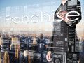 Businessman Writing Franchise On Transparent Board With City In Royalty Free Stock Image - 59756816