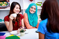 A Group Of Women Have An Interesting Conversation Stock Images - 59758124