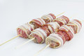 Bacon Wrapped Meatballs Skewers. Stock Photography - 59763762