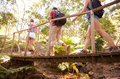 Group Of Friends On Walk Crossing Wooden Bridge In Forest Royalty Free Stock Images - 59774089