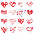 Hand Drawn Hearts Symbols And Lettering For Valentines Day. Sketched Doodle Elements For Wedding Invitations, Scrapbook, Cards, Po Stock Photography - 59789322