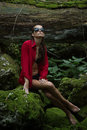 Fashionable Woman In Dark Forest Near River Stock Images - 59805994