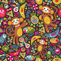 Cute Monkey Seamless Texture. Vector Colorful Royalty Free Stock Photos - 59812048
