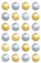 Christmas Balls Gold Silver Pattern Stock Photos - 59822043