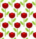 Red Tulip Seamless Pattern. Vector Flower Background. Retro Fabr Stock Photo - 59829880
