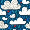 Seamless Pattern With Clouds And Falling Raindrops And Hearts Stock Photos - 59832673