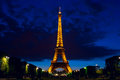 Panoramic Night View On The Eiffel Tower In Paris, France Royalty Free Stock Images - 59833109