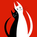 Silhouettes Of Two Cats In Love Royalty Free Stock Images - 59834419