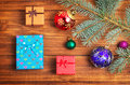 Christmas Gifts, Fir-tree Branch And Christmas Toys Stock Photography - 59848362