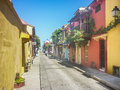 Colonial Style Colorful Houses In Cartagena De Indias Colombia Royalty Free Stock Image - 59849836