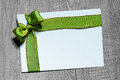 Holidays Gift Card With Green Bow Royalty Free Stock Images - 59870789