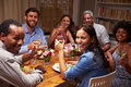 Friends At An Evening Dinner Party, Looking At Camera Stock Photography - 59872532